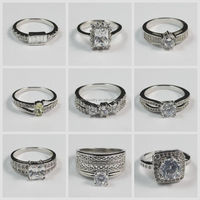 Platinum Plated Silver Eternity Different Beautiful Types Latest New Fashion Design Imitation Diamond Ring Wholesale