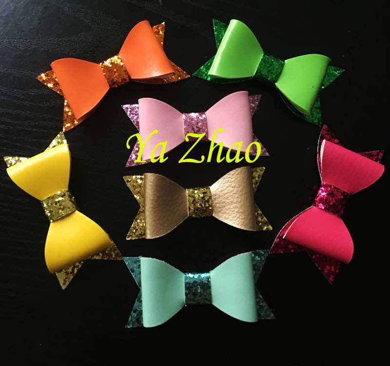 New Style Glitter Leather Bows Without Clips Baby Girls Boutique Leather Hair Bow