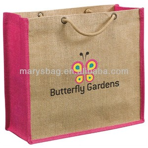 Pink Jute Gift Tote with laminated backing