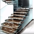 Modern floating straight staircase marble step design