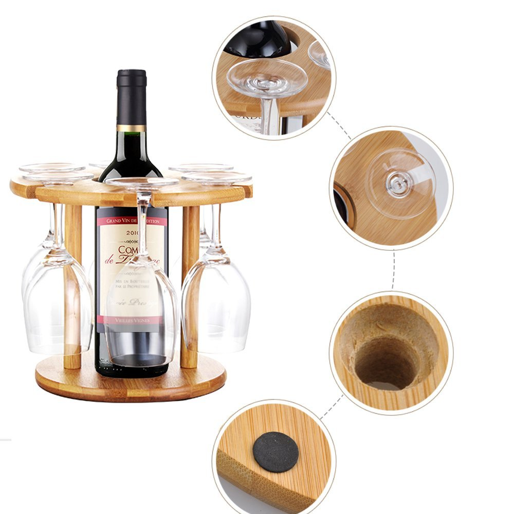 Natural Bamboo Wine Glass Holder,Cuteadoy Bamboo Wine Bottle Glass Holder Hanging Upside Down Cup Goblets Display Rack for 6pcs Stemware Glasses and 1 Wine Bottle