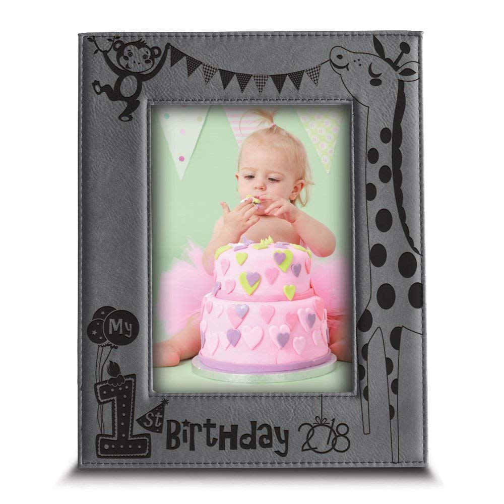 "BELLA BUSTA- My First Birthday 2018 Picture Frame- 1st Birthday Gift- Baby's First Birthday Frame- Engraved Leather Picture Frame (4""x 6"" Vertical)"