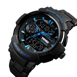 SKMEI high quality two 2 double time plastic water resistant outdoor digital quartz dual time analog watch