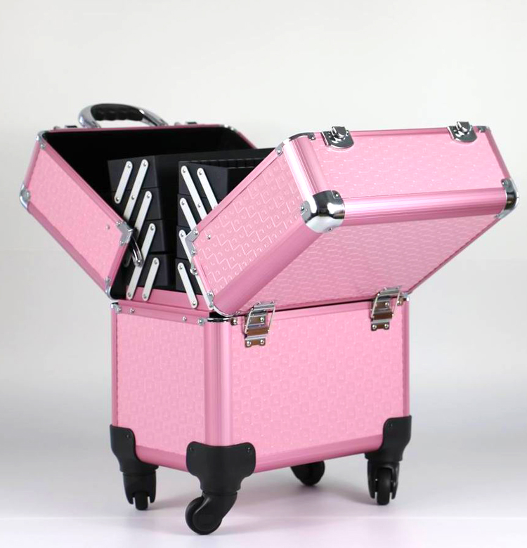 Nice aluminum foldable makeup storage box,beauty hairdresser trolley case