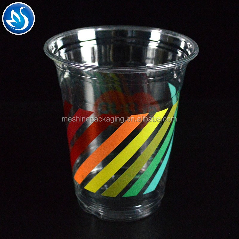 550ML custom printed PET milk tea cups disposable coffee cups eco-firendly transparent plastic cups with lids