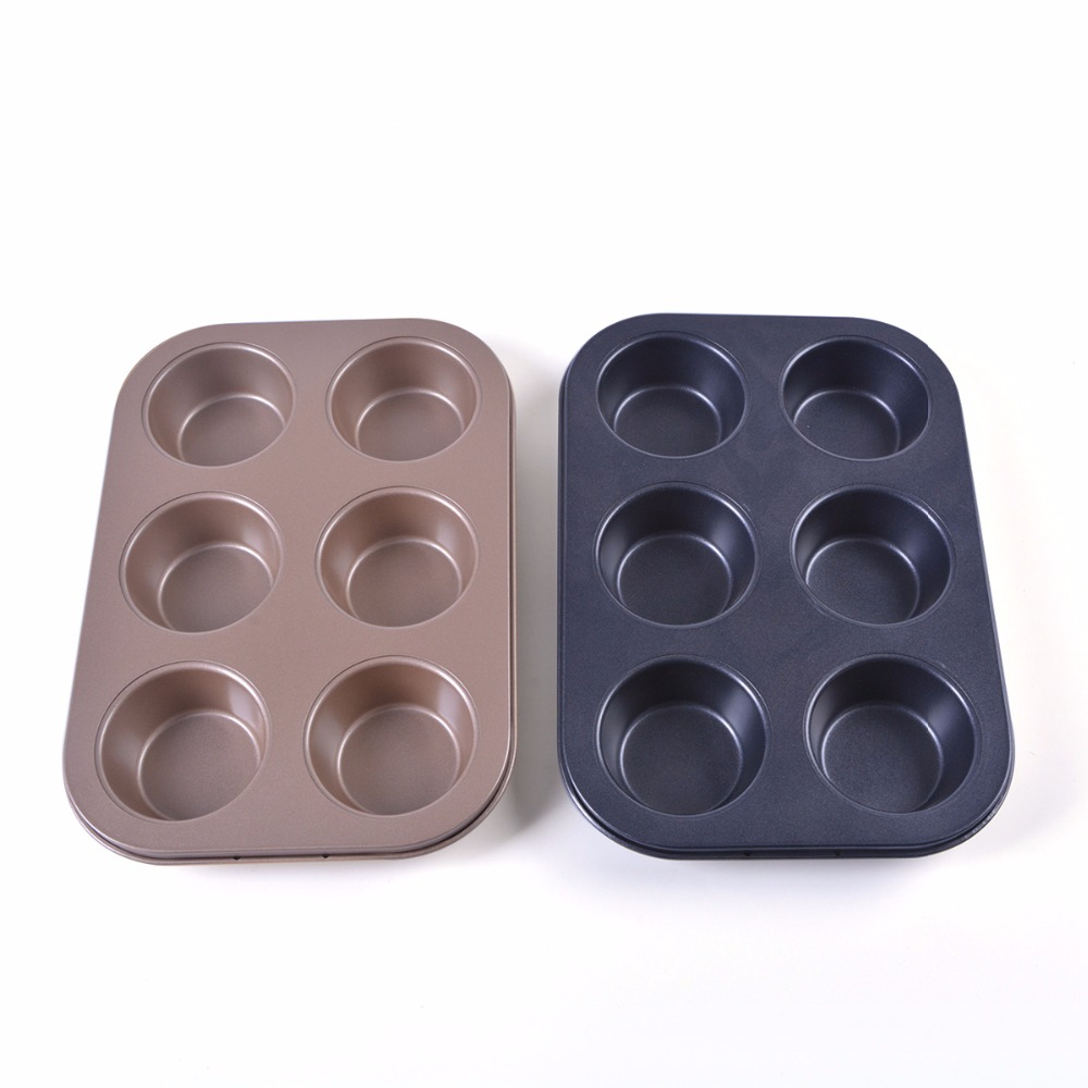 6 Hole Gold Foil Carbon Steel Metal Cake Baking Moulds For Muffin Cups