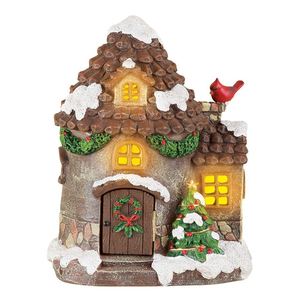 Resin Lighted Rustic Christmas Village House For Home Decoration