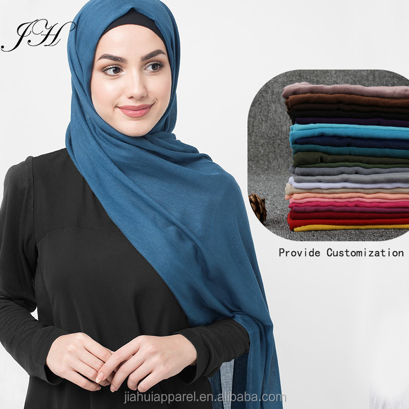 In Stock Hot arab hijab voile viscose long shawls plain scarf women hijab