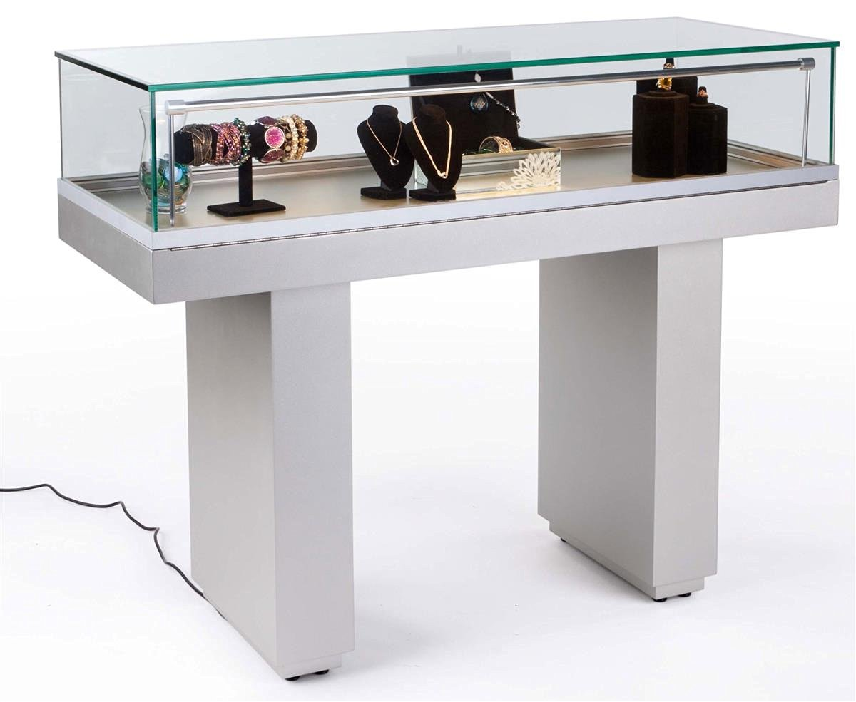 Glass Display Case for Museum, Showcase with Hydraulic Lift System and LED Lighting Strip, Ships Fully Assembled, MDF Base (Silver)