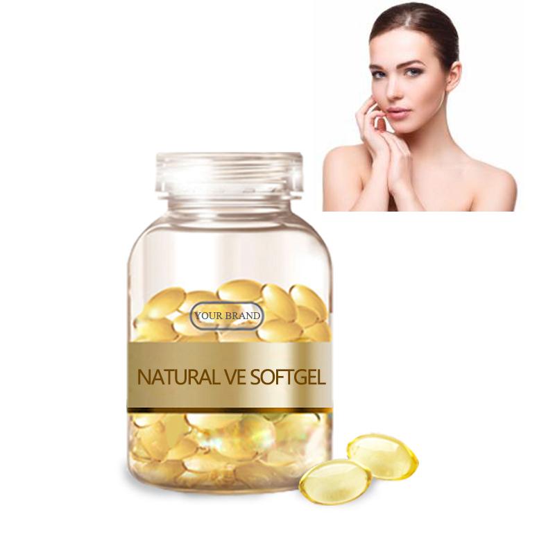 vitamin e softgel on face