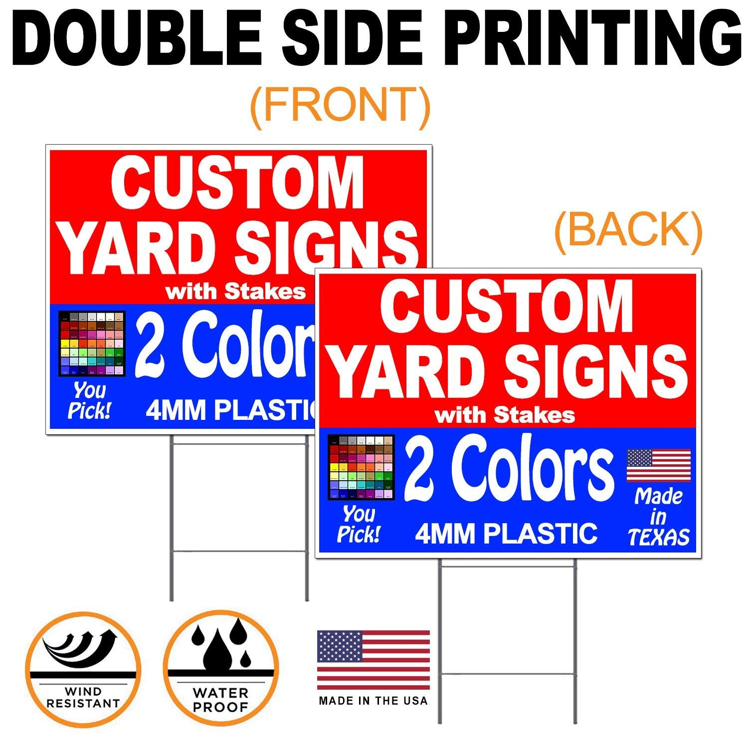 "Vibe Ink 50 Pack of 18 x 24"" Two-Colors (2) Custom Front & Back (2) Sided Yard Signs Printing"