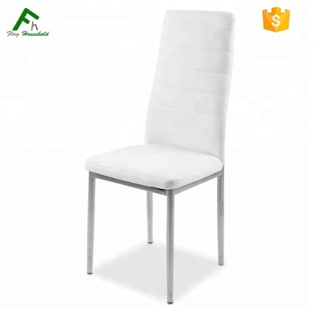 Cheap White PU Leather High Back Modern White Chair With Metal Leg