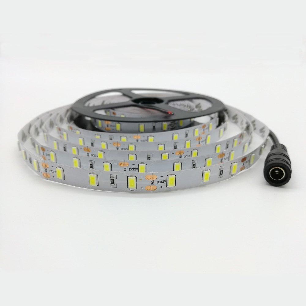 XingLi 16.4ft(5M) LED Flexible Light Strip, 300 Units SMD 5630 LEDs, 12V DC Non-Waterproof IP20, Light Strips, High light- No Power Supply (White)