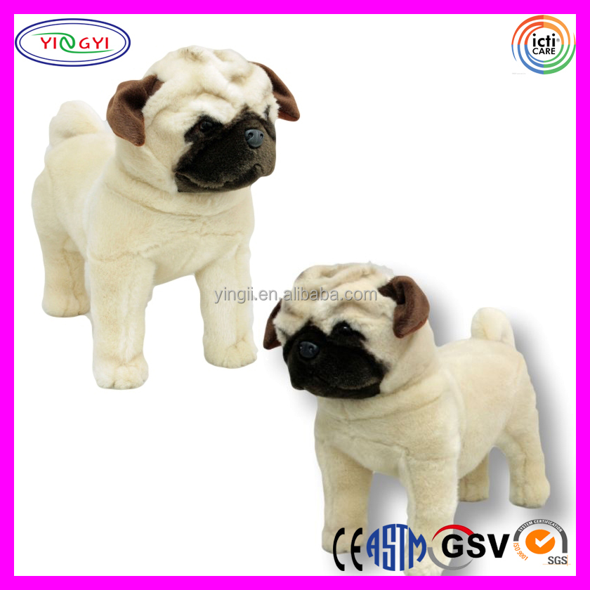 "D283 New 16"" Pug Dog Standing Animal Stuffed Plush Toy Pug-dog"