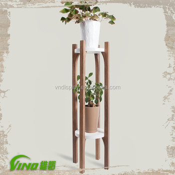 a5864974c6c4 Handmade Wooden Plant Stand for Indoor Use, Customized Rustic Holder,round two  tiers plant