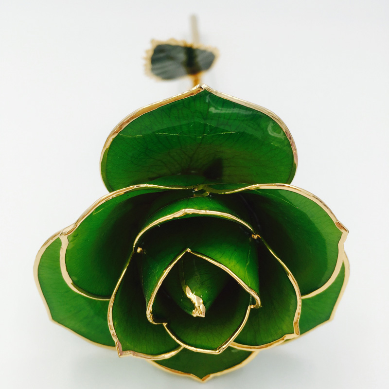 Green Forever Rose <strong>Flower</strong> dipped in 24K Gold for Your Girl Valentine Gifts