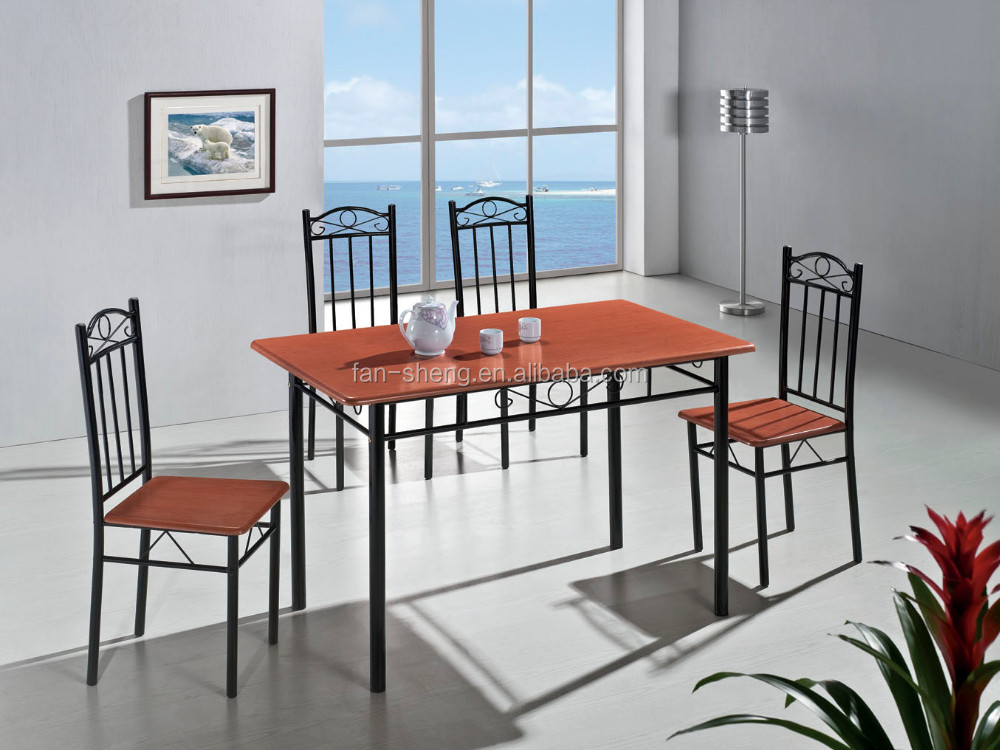 cheap 1 4 modern metal dining table set with four chairs buy dining round table and chair set. Black Bedroom Furniture Sets. Home Design Ideas
