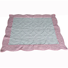manufacture stocked home soft embroidered personalized knitted double layer washable quilt comfortable monogram baby blanket