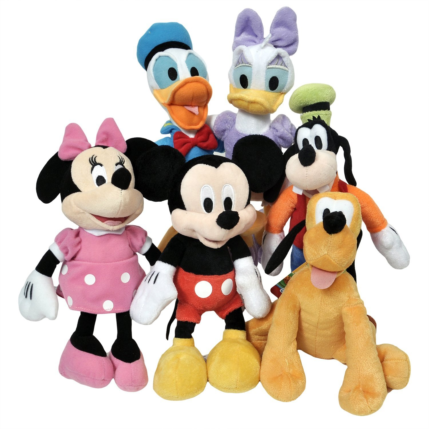 """Disney 11"""" Plush Mickey Minnie Mouse Donald Daisy Goofy Pluto Clubhouse 6-Pack + Stickers"""
