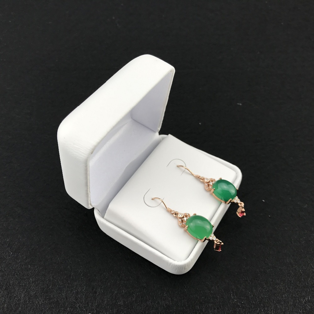 white faux pu wrapped rigid metal small earring wedding gift gloss jewelry box case display