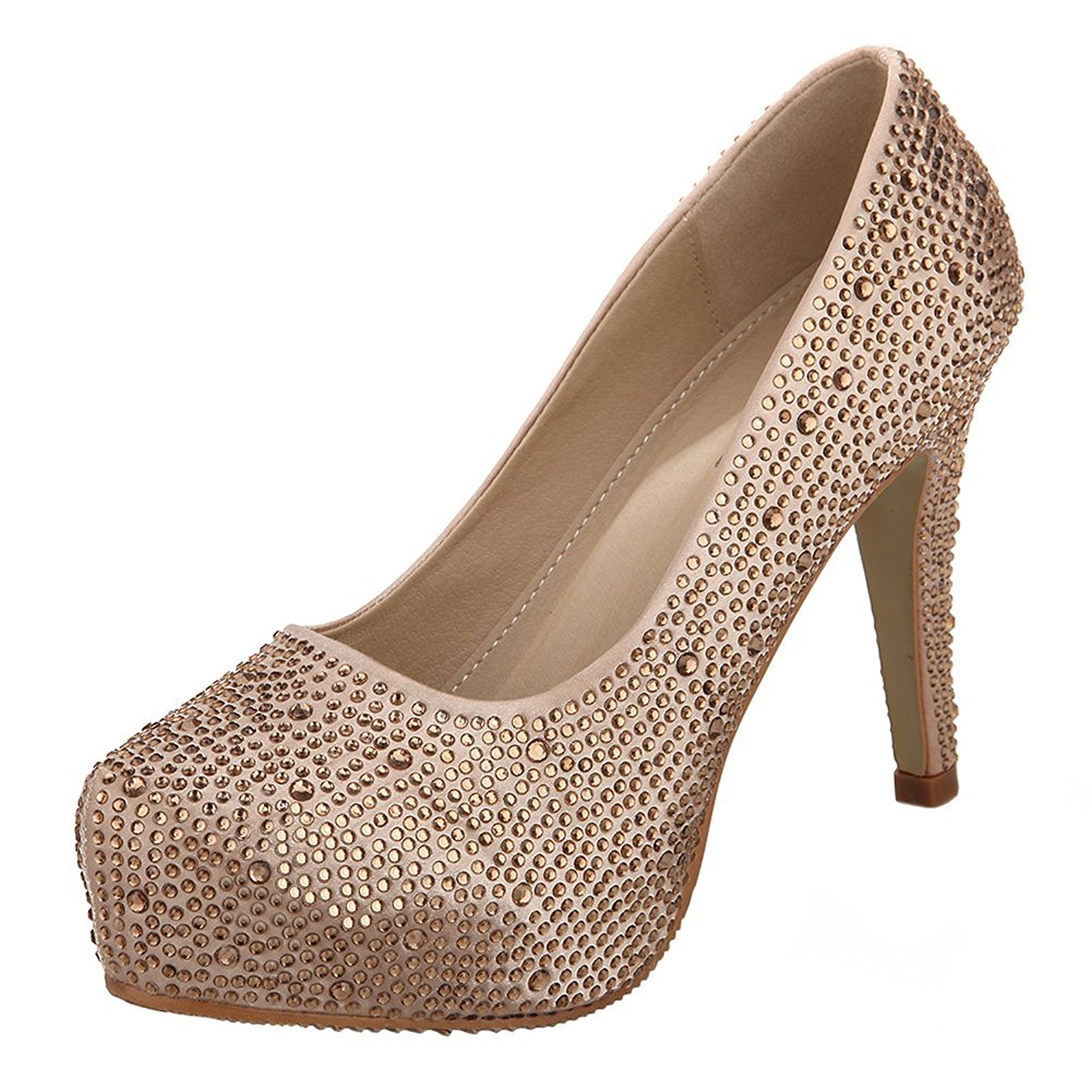 VELCANS Colourful Rhinestone Womens Platform Pumps,Bridal Shoes,Party Shoes and Wedding Shoes