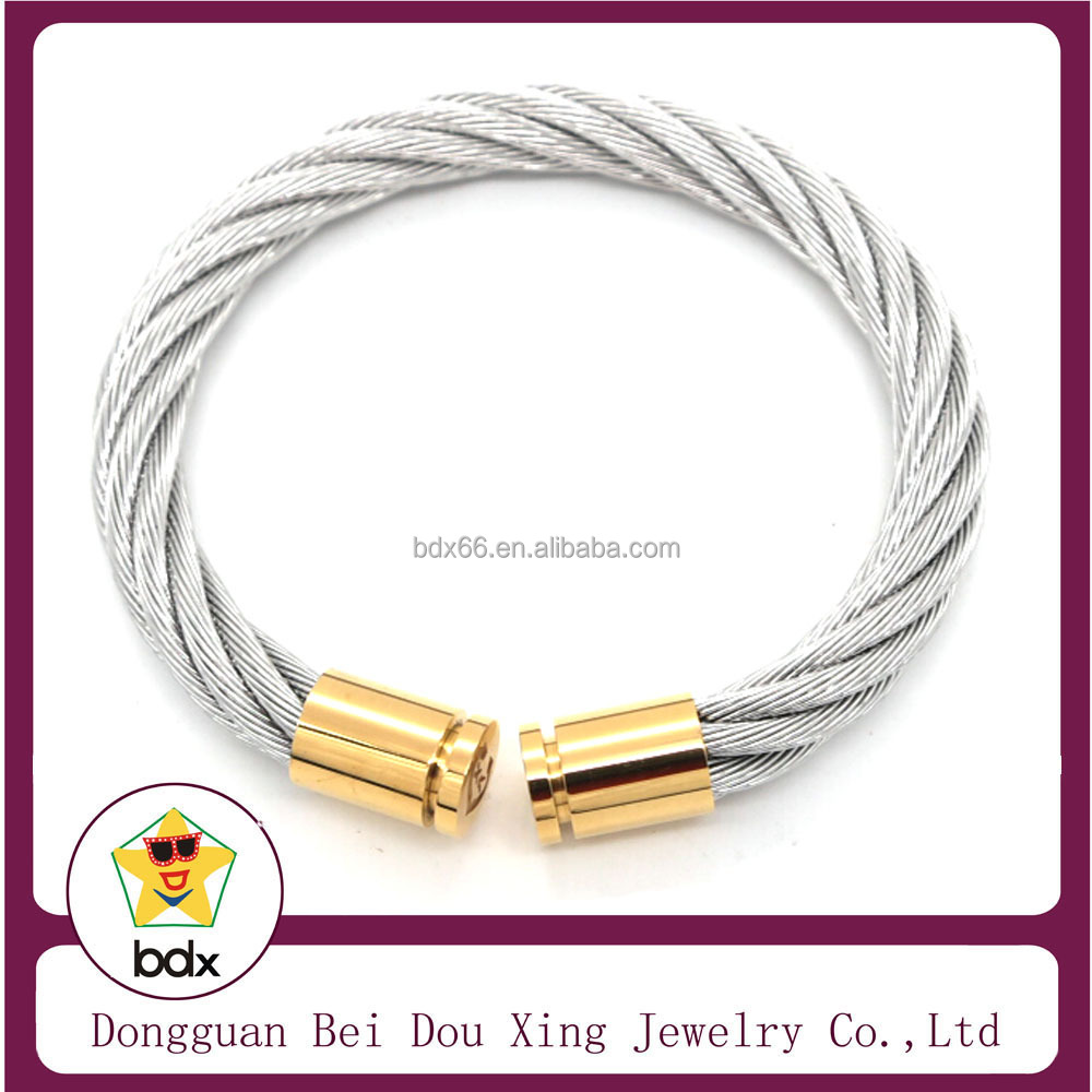 Alibaba China Wholesales Fashion 316L Stainless Steel Wire Men Women Silver Gold Cuff Wristband Bracelet Bangle