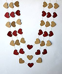 Red cherry & kraft heart garland,Rustic wedding decor, Wedding party decoration, Wedding heart garland, Rustic kraft brown valentine garland