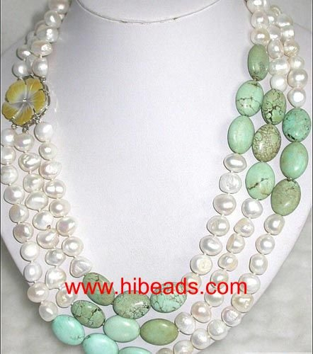 white freshwater nugget pearl necklace with turquoise FPN0212