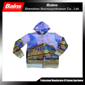 100% polyester dye sublimation printed full zip hoodie multi color