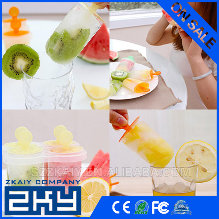 Plastic 6 Cell Pop Popsicle Mold Icepop Ice Cube Crean Tray Pan Icebox Frozen Lolly Maker Mould DIY
