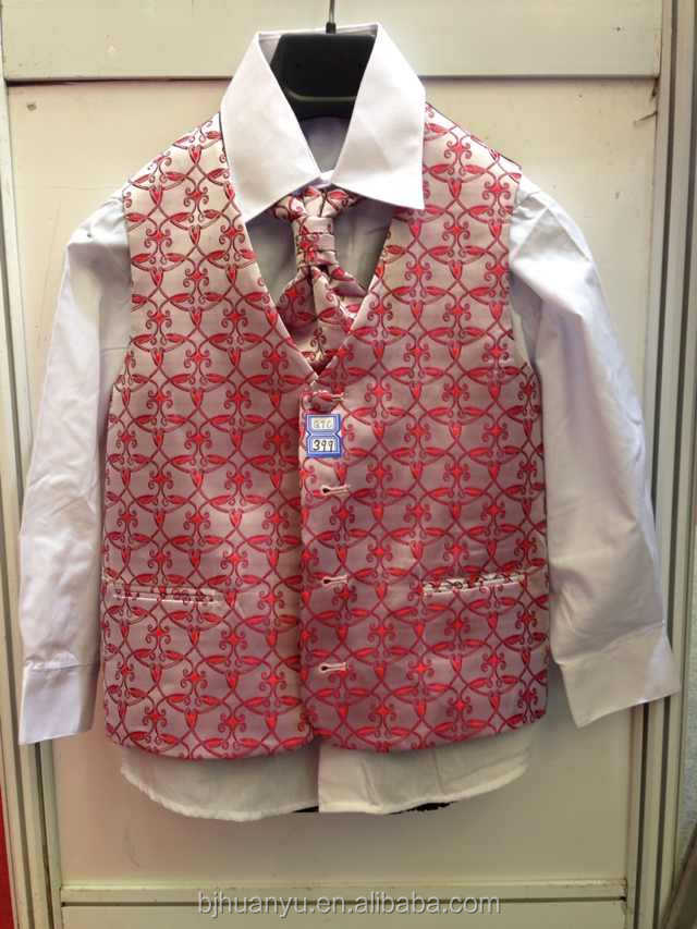 shirt .tie .vest and pants 4pc/set for teenager red flawer