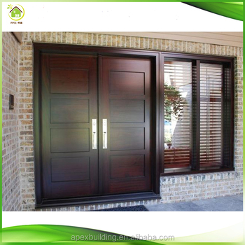 Natural Wood Double Open Wooden Entry Front Doors