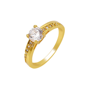 R042603 xuping 24k solid gold rings wedding engagement ring diamond