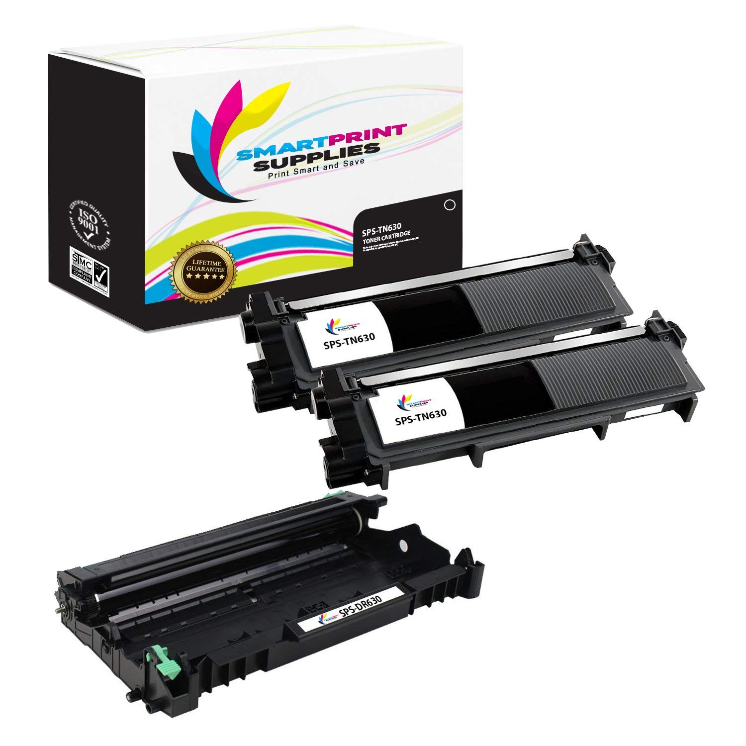 Smart Print Supplies TN630 DR630 High Yield Compatible Toner Cartridge & Drum Unit Replacement for Brother HL-L2300 L2340 L2380, DCP-L2520 L2540, MFC-L2700 L2720 L2740 Printers (2 TN-630,1 DR-630)