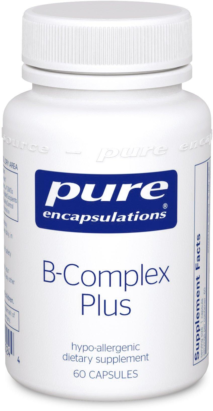 Pure Encapsulations - B-Complex Plus - Balanced B Vitamin Formula with Metafolin® L-5-MTHF and Vitamin B12 - 60 Capsules