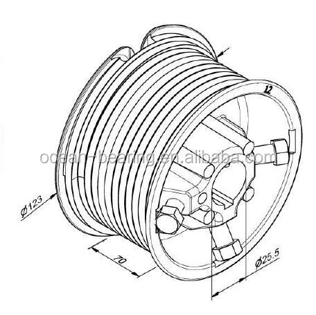 Od 124mm Aluminum Cable Drum For 500kgs Garage Door