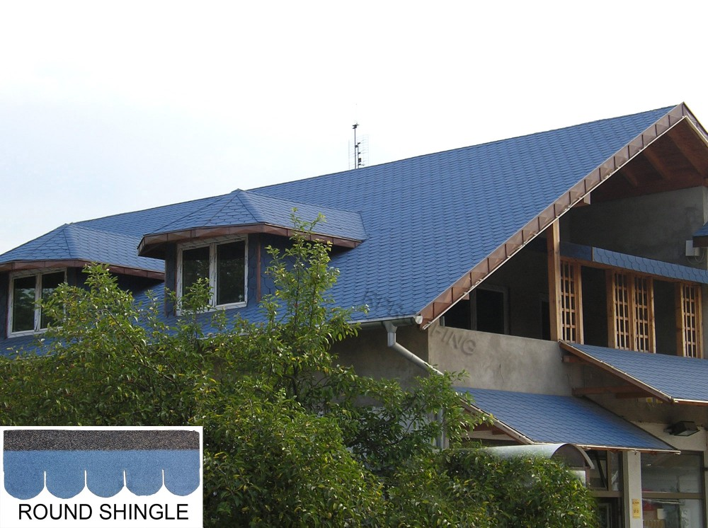 Cheap building material colorful round asphalt roofing for Cheap construction materials