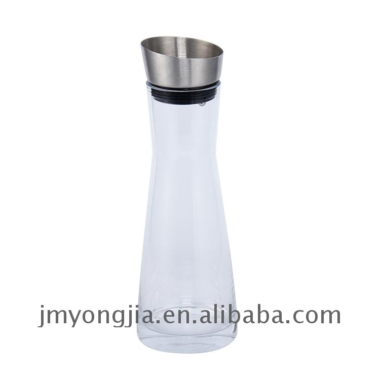 fashion design 1L Glass Water jug with stainless steel lid