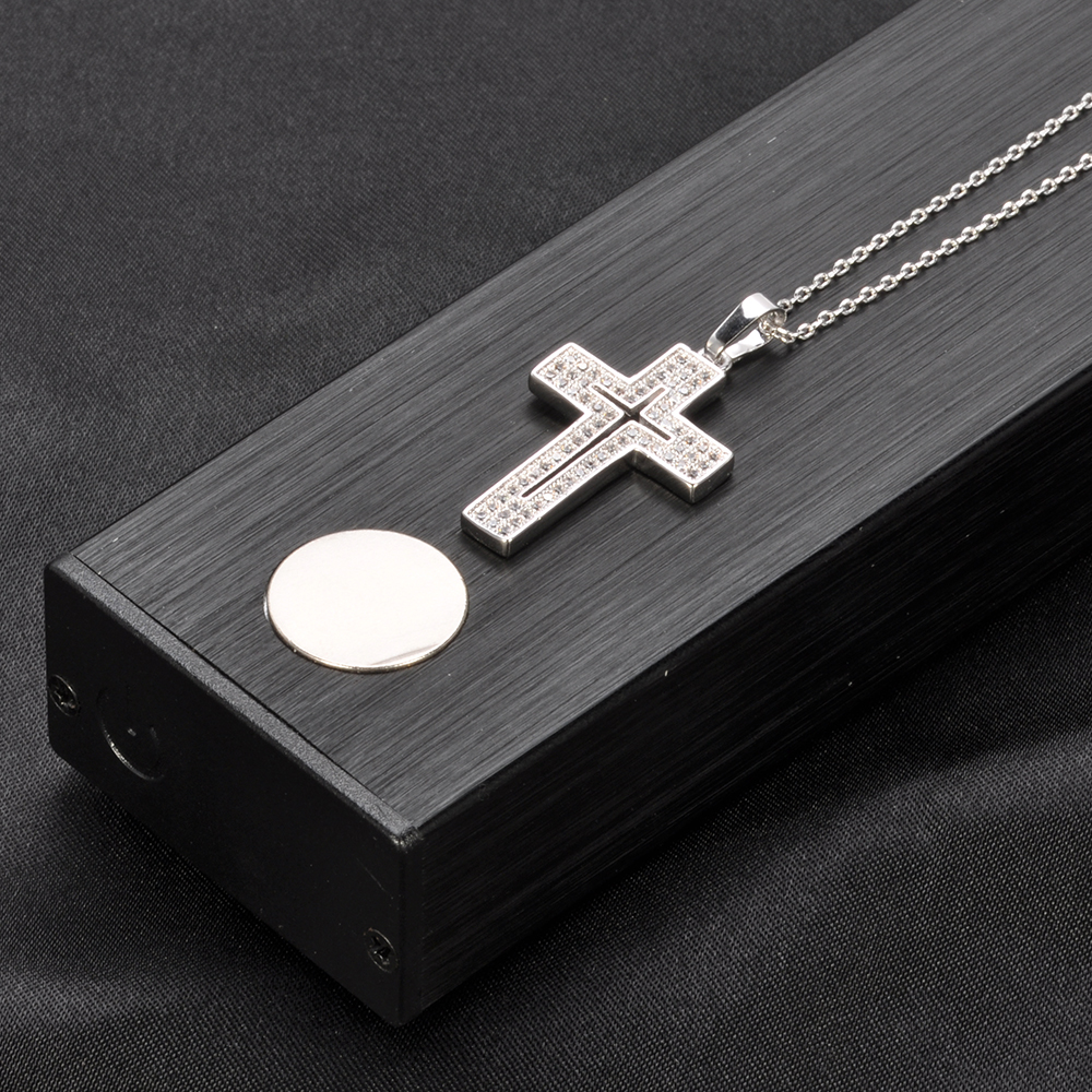 Fashion turkish personalized korean for men pendant cubic zirconia short chain sterling pure 925 silver cross jewelry necklace
