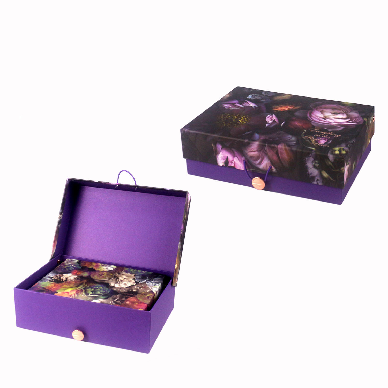 Noble purple color abstract flower pattern square storage box