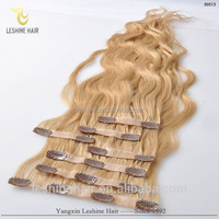 Long straight Clip in Human Hair Extension No Tangle No Shedding Blonde Remy Clips in Hair