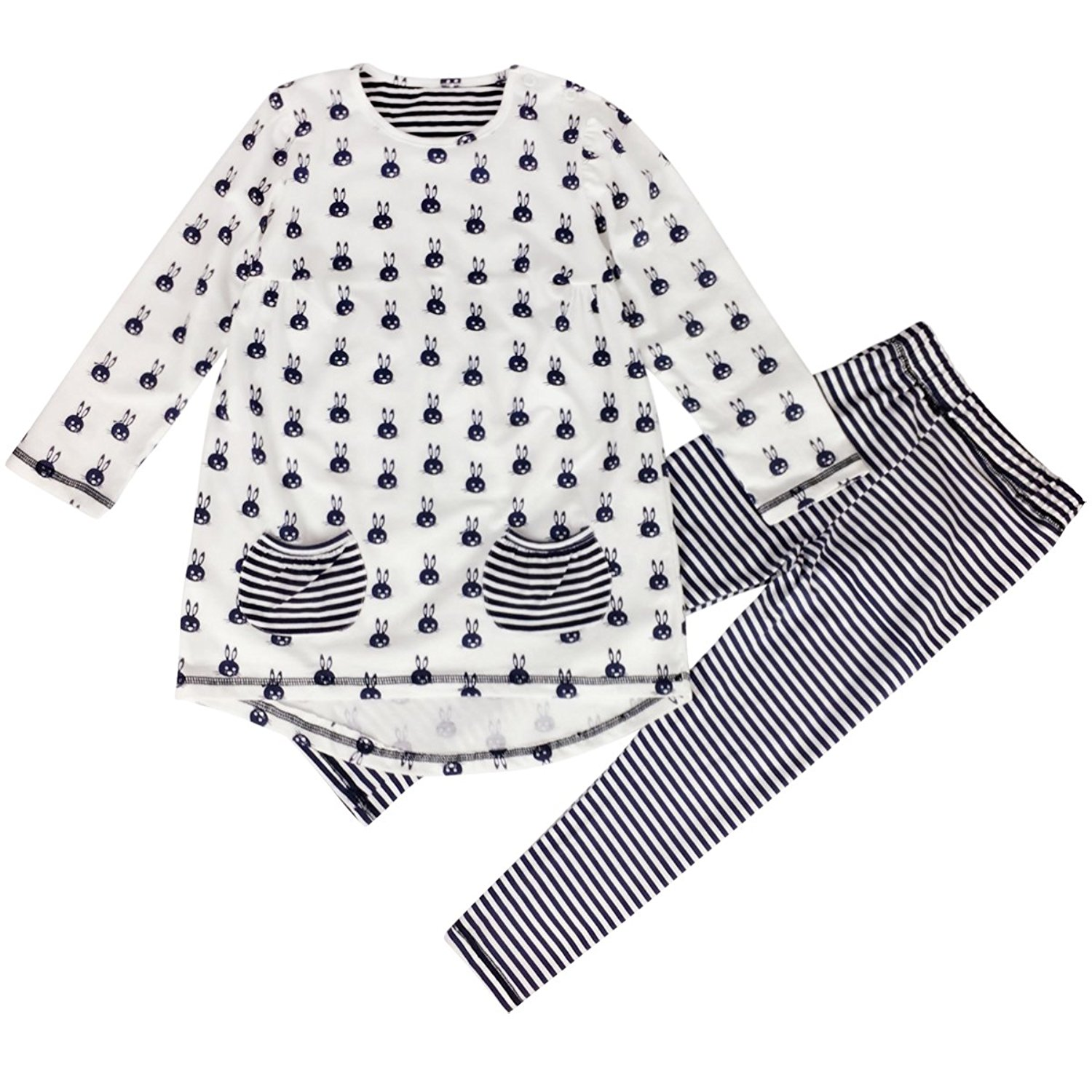 Thrivqyaf Little Girls 2pcs Rabbit Print Top+Legging Outfit Sets with Pockets