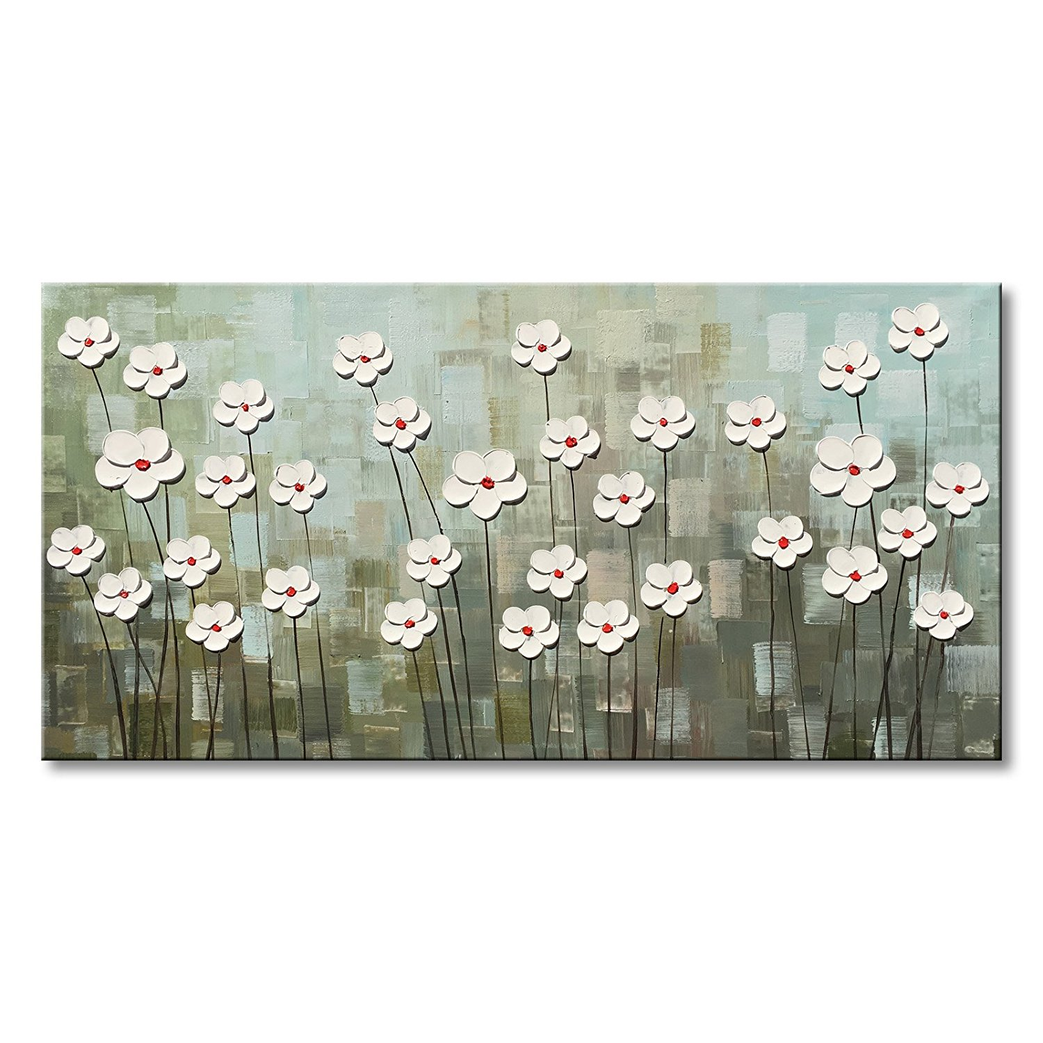 Hand Painted Textured Abstract Canvas Wall Art White Flower Oil Painting Modern Floral Artwork