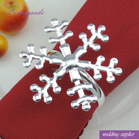 LJQ022 bulk cheap silver snowflake metal napkin ring for christmas