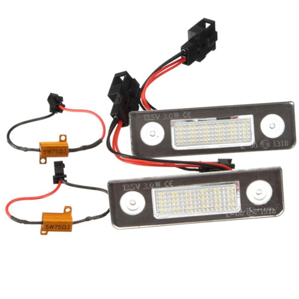 Error Free Car LED License Plate Lights For VW Skoda Octavia Lamp Bulb Kit Xenon White 3528 SMD(2pcs)