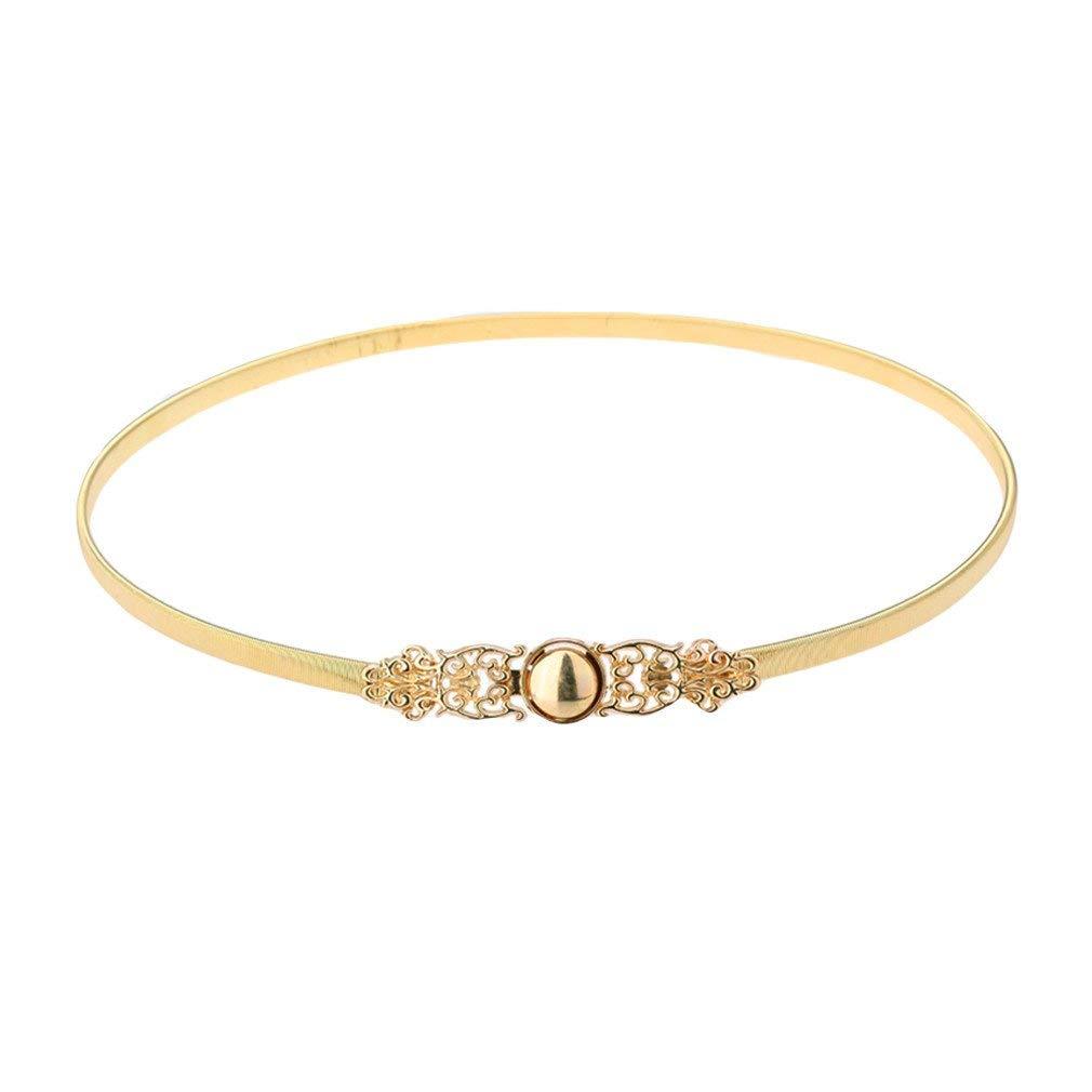 7907a3eebed3c Get Quotations · NNVMM Women Fashion Golden Waist Belt Gold Tone Hollow Out  Stretchy Chain Metal Belt