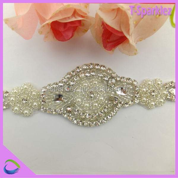 Wedding Dress Sash Belt - Crystal Pearl APPLIQUE PART ONLY!!