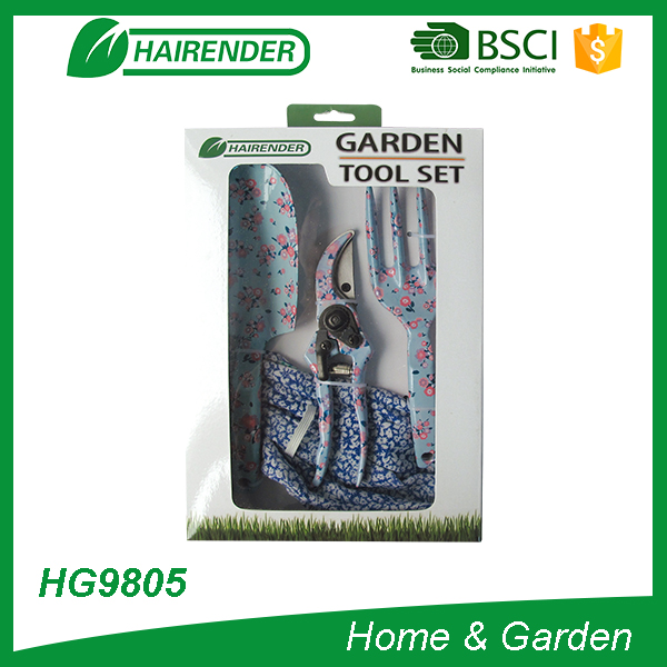 4pcs floral pritting gardentool set with color box garden tool kits