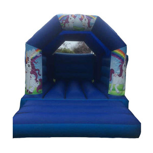 Playground durable adult kids unicorn inflatable trampoline inflatable bounce house to live in,long slide for kids and adult