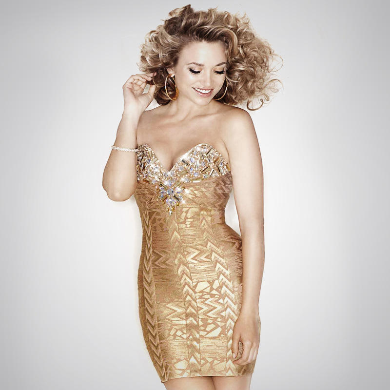 2015 Crystal Rhinestones Gold Printed Strapless Bodycon Bandage HL Brand Club Party Dresses